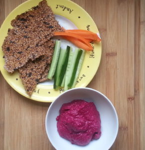 Seed crackers, beet hummus, veggies